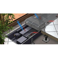 Katherm HK 150/340/1250 2189W/457W Klimakonwektor podłogowy DWURUROWY KaControl KAMPMANN w komplecie z kratką ALU anodowaną