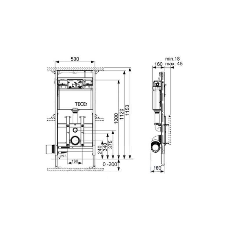 Modul Wc Tecelux 200 Wysokosc Zabudowy 1120 Mm Mozliwosc Regulacji