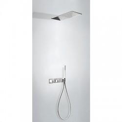 TRES Slim exclusive Zestaw podtynkowy termostatyczny natryskowy, kolor biały-chrom 20725202BL